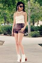 white cut out Jeffrey Campbell heels - crimson pu romwe shorts