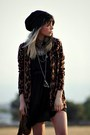 Black-romwe-dress-burnt-orange-unif-boots-black-foreign-exchange-hat
