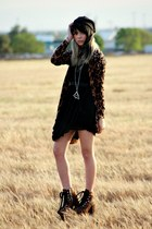 black romwe dress - burnt orange UNIF boots - black foreign exchange hat