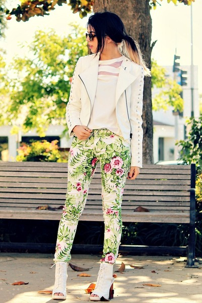 white studs Motel Rocks jacket - white lace-up Jeffrey Campbell heels