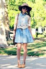 light blue denim PacSun dress - brown ombre romwe sunglasses