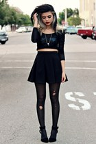 black PacSun leggings - black pleated romwe skirt - black mesh Lulus top