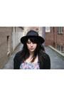 Bubble-gum-floral-dress-black-boots-black-hat-black-lace-jacket-jacket