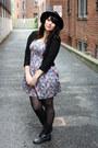 Black-boots-bubble-gum-floral-dress-black-hat-black-lace-jacket-jacket