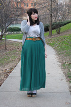 heather gray cardigan - cream shirt - teal chiffon Silence & Noise skirt
