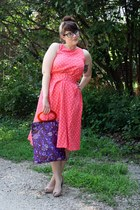 polka dot My Michelle dress - paisley silk vintage bag