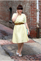 light yellow dress - lime green purse - brown tooled leather belt