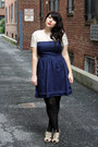 Navy-dress-black-tights-nude-heels