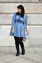 chambray dress - lace up boots - tights - handmade tote bag