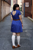 white knee high socks - blue dress - tawny tooled leather belt