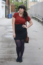 burnt orange sweater - navy shoes - deep purple tights - navy skirt