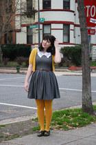 gray chevron print dress - mustard tights - mustard short sleeve cardigan