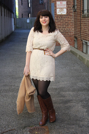 lace dress - boots - Cheap Monday cardigan