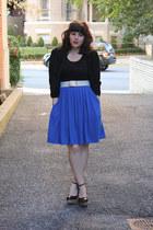 black lace jacket - blue Cooperative shirt - black lace top - white vintage belt