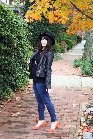 orange suede heels - blue jeans - black hat - black faux leather jacket