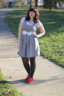 White-bow-belt-heather-gray-i-heart-ronson-dress-black-opaque-tights