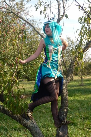 turquoise blue peacock costume dress - black n-a thigh highs tights