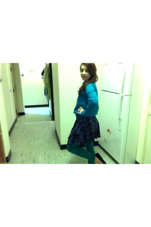 navy thrift stores skirt - turquoise blue sweatshirt Walmart shirt