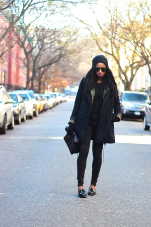 black Zara coat - black Zara jeans - green jacket - black Uniqlo sweater