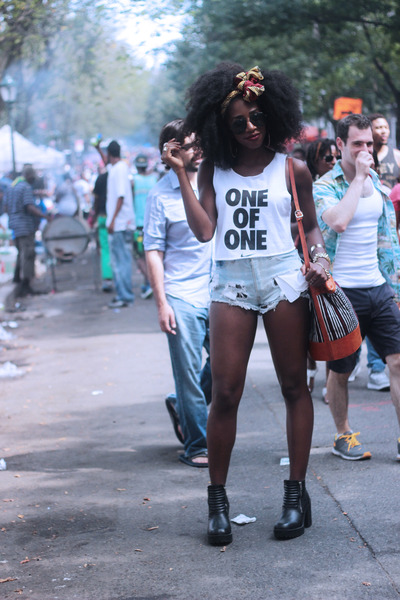 white cropped nike top - black H&M boots - sky blue Levis shorts