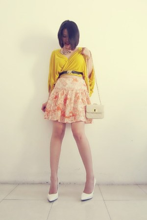 random skirt - Mango wedges - leather vintage belt - crystal random necklace