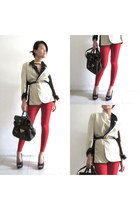red random leggings - cream DIY blazer - dark brown Newlook bag