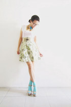 aquamarine mohair random socks - lime green floral random skirt