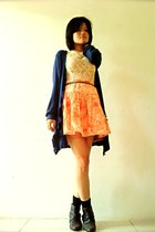 black leather pull&bear boots - eggshell lace random dress - carrot orange print
