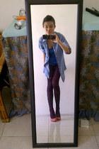 blue Topshop top - sky blue denim vintage shirt - bubble gum suede next heels
