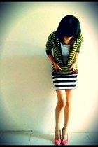 white striped random dress - dark green striped random hoodie