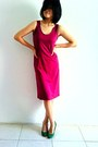Magenta-maxi-random-dress-olive-green-thrifted-vest-green-suede-zara-pumps