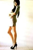 silver Zara dress - black suede Zara heels