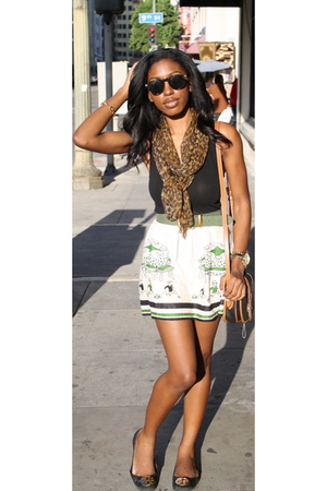 green Anna Sui skirt - black tory burch shoes - brown vintage scarf