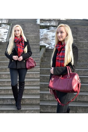 black Sheinside coat - maroon BangGood bag