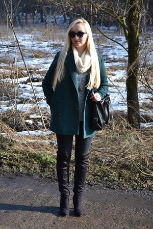 dark green OASAP coat - beige H&M scarf - black OASAP bag
