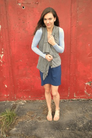 violet thrifted top - heather gray Closet Romantic vest - gold Target sandals -