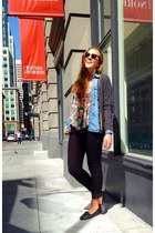 charcoal gray varsity sweater Gap cardigan - red floral Nordstrom blouse
