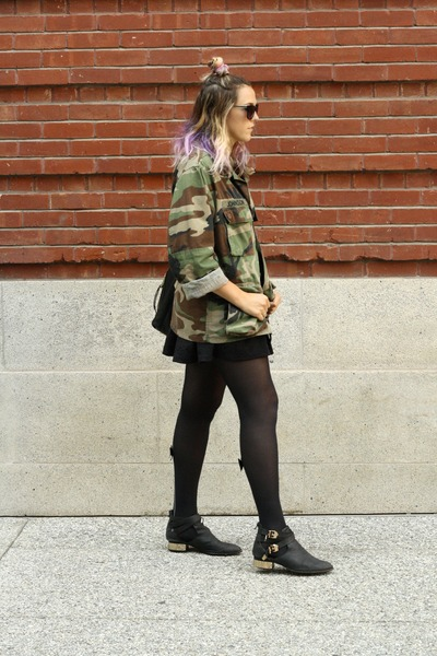 black black Jeffery Campbell boots - forest green army thrifted jacket