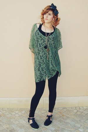 black Primark leggings - army green vintage scarf - green Primark top