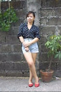 Light-blue-high-waist-topshop-shorts-navy-polka-dot-valerie-stevens-blouse