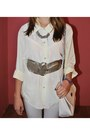 Silver-belt-white-shirt-silver-diy-necklace