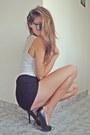 Black-lace-shorts-black-silver-zara-heels-white-top