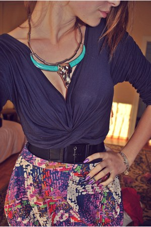 turquoise blue Zara necklace - amethyst warehouse skirt