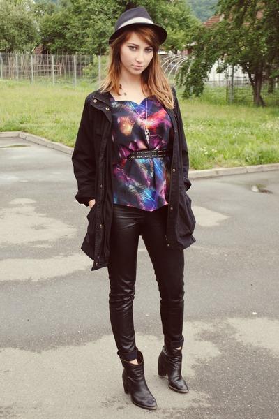 black leather boots - black Bershka hat - black leather H&M pants