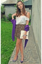 brown leopard print H&M skirt - white diy bag - light purple random heels