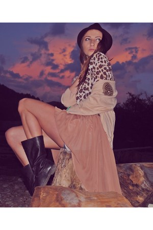 black boots - black Bershka hat - brown leopard print shirt - nude skirt