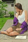 Amethyst-blazer-brown-leopard-print-h-m-skirt-white-top