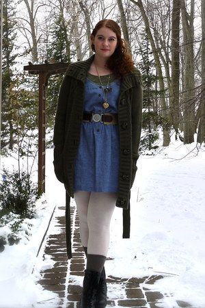 sky blue denim I heart ronson dress - forest green H&M cardigan