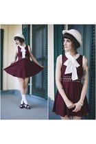 crimson vintage shoes - crimson free people dress - white vintage hat