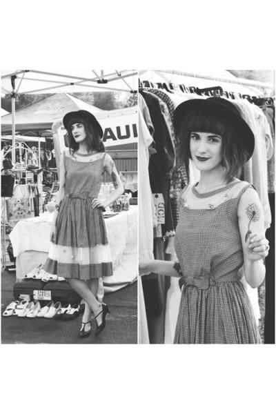 black vintage shoes - gray vintage dress - black vintage hat